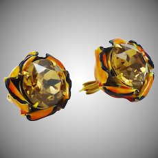 Amazing Sandor!!! Headlight Rhinestone Floral Earrings