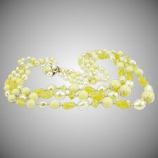 Gorgeous Mid Century Japanese Three-Strand Beaded Necklace in Pale Yellow
