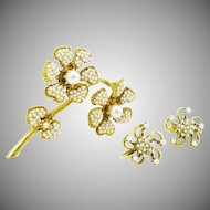 HAR Flower Brooch in Faux Seed Pearl and Earrings