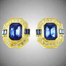 Gorgeous Oscar de la Renta Earrings in Sapphire-Blue, Crystal and Gold-Tone