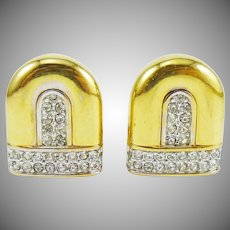 Nina Ricci Classic Gold-Tone and Pave Crystal Earrings