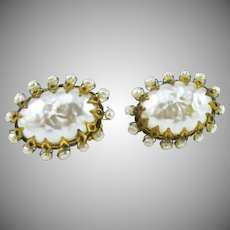 Iconic Miriam Haskell!! Faux Baroque Pearl Earrings
