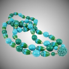 Mid Century Craft Beads in Blue and Green - Japan