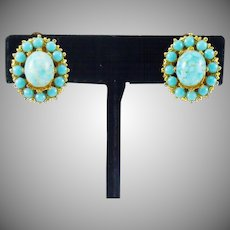 Faux Turquoise Earrings in Gold Tone