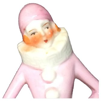 Pierrette Half Doll - Vintage Pincushion Lady - Japan Ceramic - Pink Clown