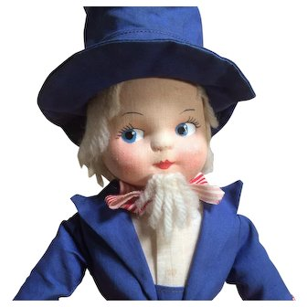 Cloth Uncle Sam Doll - Molded Mask Face