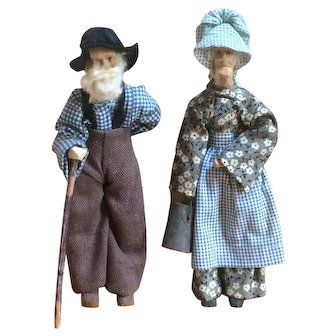 Hand Carved Wooden Dolls - Mountain Man & Woman