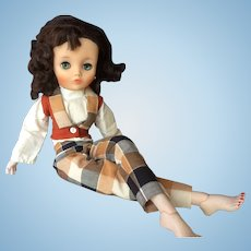 "19"" Uneeda Dollikin 2S in Rare Outfit - 1950s Multi Jointed Glamour Doll"