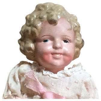 """Shirley Temple 8"""" Compo Doll - Molded Hair - Made In Japan"""