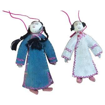 Pair of Tiny Handmade Cloth Chinese Dolls