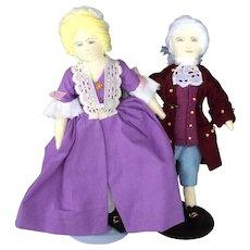 Handmade Cloth Dolls in Colonial Dress