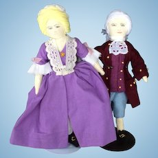 Handmade Cloth Dolls in Colonial Dress