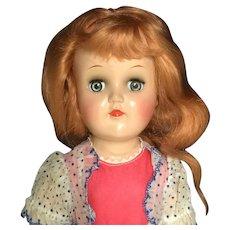Ideal TONI Doll Hard Plastic P-90 Original TAGGED Dress Long Strawberry Blonde Hair 1950s