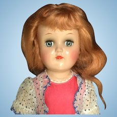 Ideal TONI Doll Hard Plastic P-90 Original TAGGED Dress Long Strawberry Blonde Hair 1950s