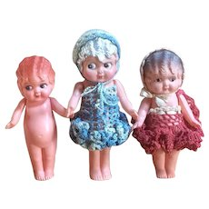 Lot Of Three Celluloid Flapper Dolls - Made In Japan