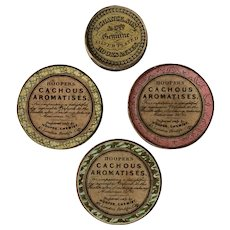 4 Antique Containers Hooper's Cachous Aromatises / Chance Hooks & Eyes