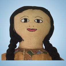 Bucilla Stuftoy HIAWATHA Doll Vintage Native American Indian CLOTH Doll Homemade from Kit
