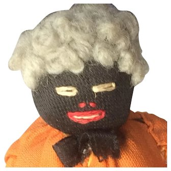 Miniature Cloth & Pipe Cleaner Doll - Older Woman, Dollhouse Size