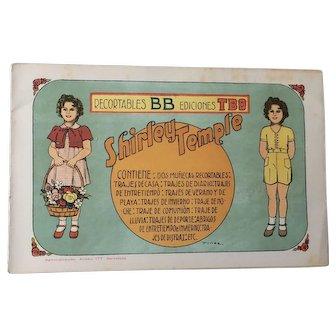 Vintage Shirley Temple Paper Doll - Barcelona Spain - Uncut