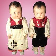 "7 1/2"" Composition Boy & Girl Dolls"