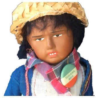 Early Vintage Papier Mache Mexican Man Doll - Tijuana Button