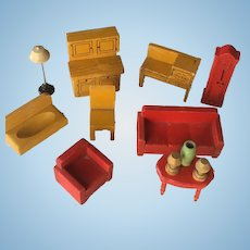 Lot Of Doll House Furniture - Mustard Kitchen Set, Red Living Room Set, Lamps