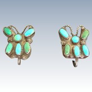 Turquoise Butterfly Native American Sterling Silver Earrings