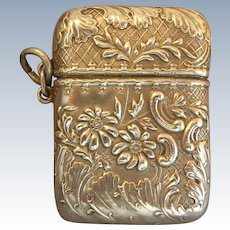 Victorian Sterling Silver Repousse Stamp Box Safe
