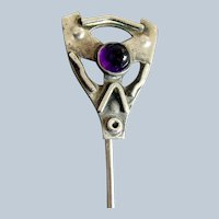 Sterling Silver Arts & Crafts Amethyst Stickpin   C. 1900