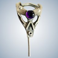 Sterling Silver Arts & Crafts Amethyst Stickpin   C. 1900