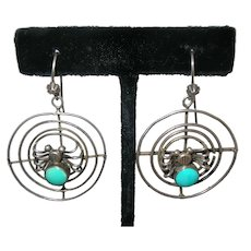 Unusual Vintage Turquoise Spider in the Web Navajo Sterling Silver Earrings