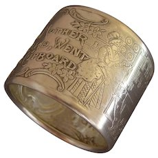 """""""Old Mother Hubbard"""" Sterling Silver Nursery Rhyme Napkin Ring"""