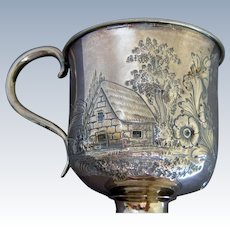 Sterling Silver Footed Cup - House, Mountains, Trees