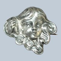 Antique UNGER BROS Sterling Silver Girl with Shell Pin Brooch 1904