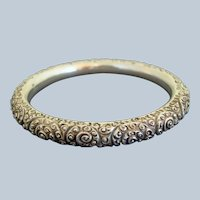 Heavy Repousse Antique Sterling Silver Victorian Bangle Bracelet