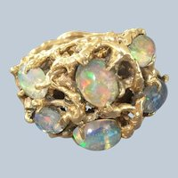 WOW! 1970's Heavy 14K Yellow Gold & Opal Ring