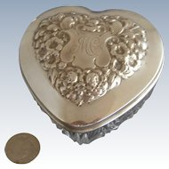 """Gorham 3"""" Sterling Silver Heart Shape Dresser Jar"""