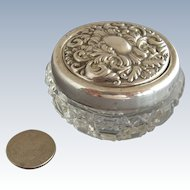 Petite Sterling Top Cut Glass English Dresser Jar - 1909