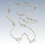 "Vintage Silver Geometric 30"" Chain"
