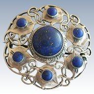 Theodor Fahrner 935 Sterling Jugendstil Round Lapis Lazuli c.1900 Pin