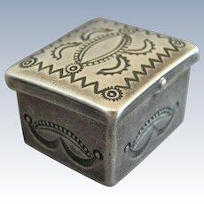 Vintage Sterling Silver Navajo Stamp Work Pill Box