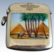 Art Deco Egyptian Revival 900 Silver Match Safe