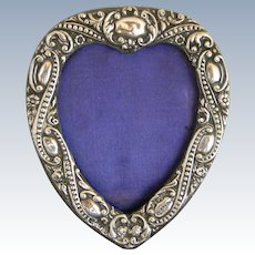 Heart Shape Victorian Sterling Silver Repousse Frame
