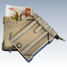 Victorian Sterling Silver Book Shape Stamp Box Safe