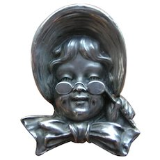 Antique UNGER BROS Sterling Silver Girl with Lorngette Pin Brooch 1904