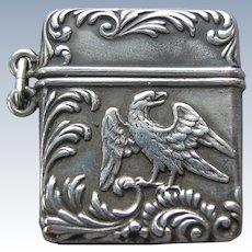 F & B Sterling Silver Eagle Stamp Box Safe