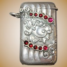 Petite 800 Silver & Garnet Antique Match Safe