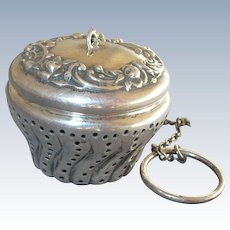 GORHAM Repousse Roses & Swirl Sterling Silver Antique Tea Ball