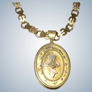 Antique Victorian Etruscan Revival Gold Filled GF Locket & Book Chain