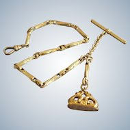 Victorian Fancy Link Gold Filled GF Pocket Watch Chain w Fob Seal ~ SIMMONS